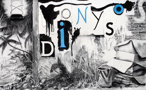Dionysos, 2009, 125x200cm, Kohle, Pigmente auf Papier