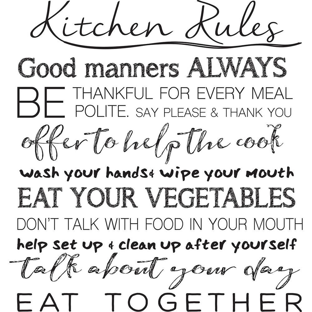 Wall Pops Black Kitchen Rules Wall Quote Decal DWPQ2938 - The Home Depot #kitchenrules