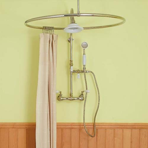 Circular Metal Shower Curtain Rod With Light Pink Shower Curtain