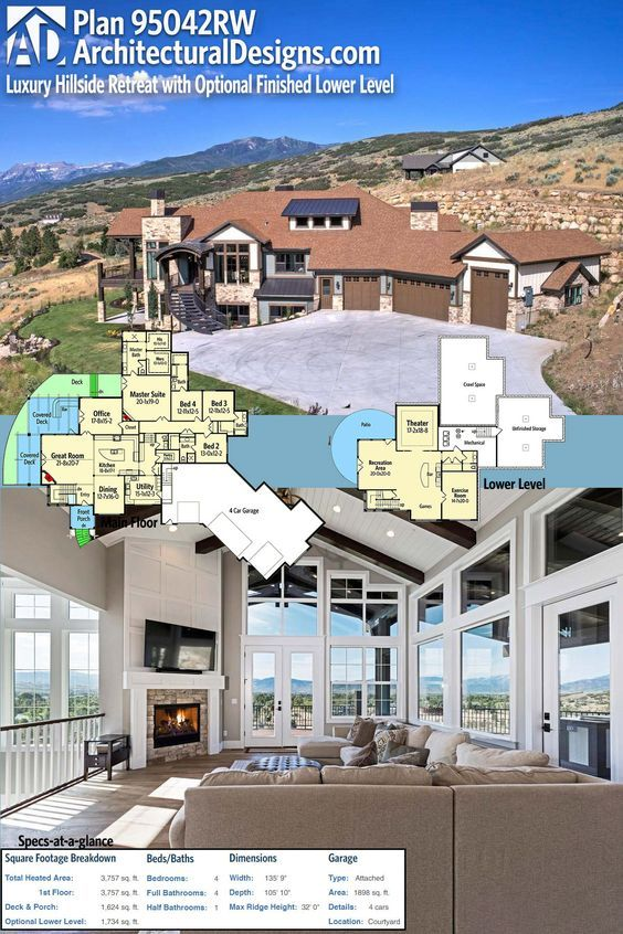 Plan 95042rw Luxury Hillside Retreat With Optional Finished Lower Level Architectural Design House Plans Building A Deck House Plans