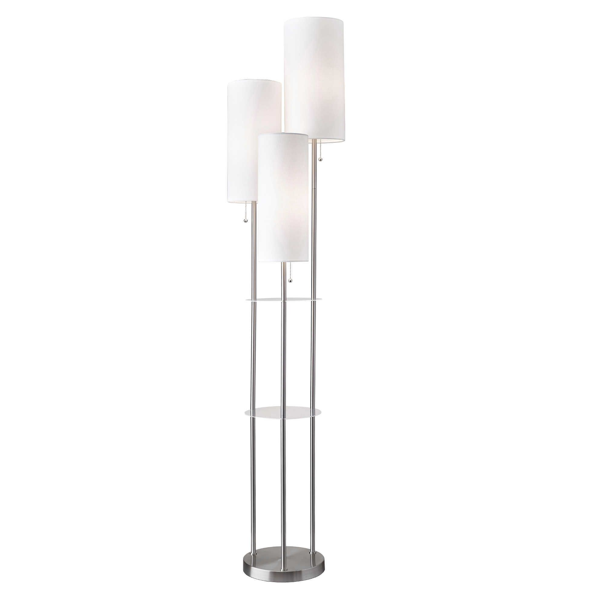 Adesso Trio Floor Lamp With Tables In Brushed Steel Bed Bath Beyond Steel Floor Lamps Floor Lamp Lamp