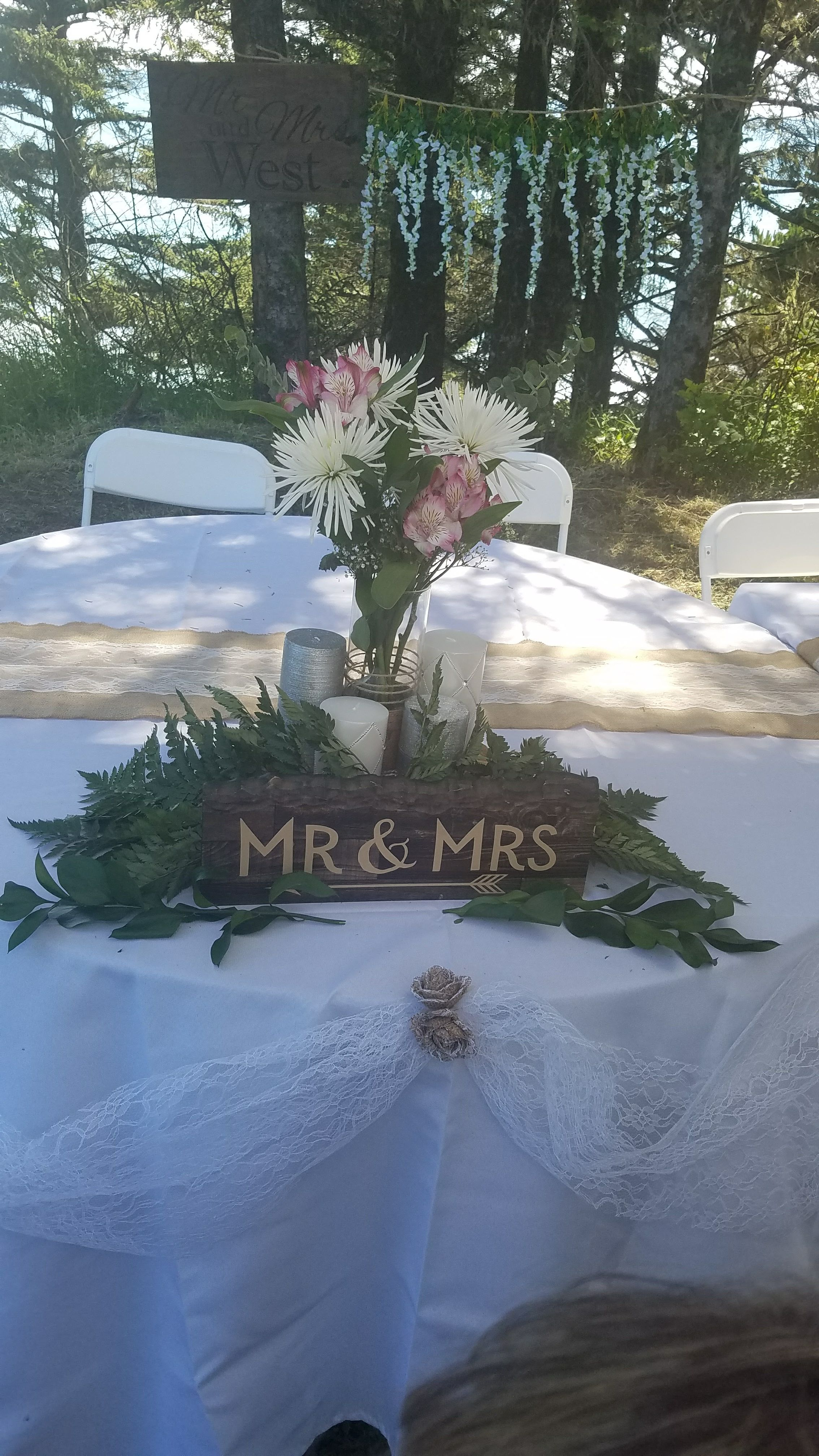 Bride groom head table crookpoint oregon destination