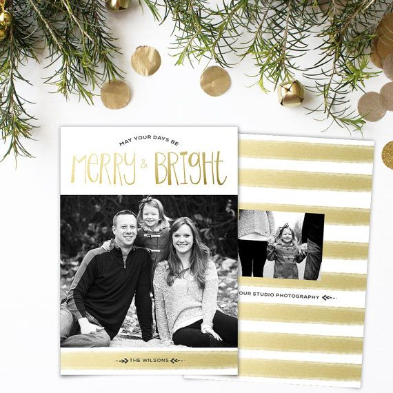 Holiday Card Template Merry  Bright By Yellowwelliesdesigns