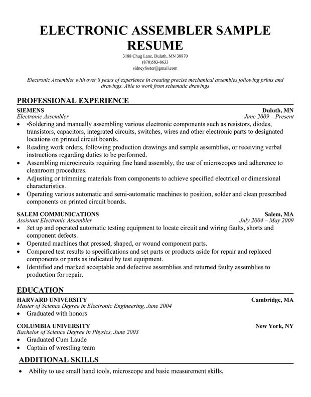 Production Assembly Line Worker Resume Sample Professional Make You Stand Out How