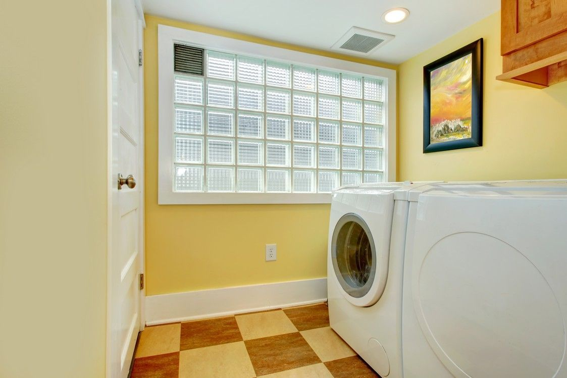 Glass square privacy windows in laundry room | Laundry Time ...