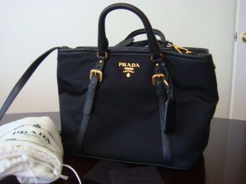 3b3e96746a ... ireland new prada tessuto vitello nero black nylon crossbody bag tote  satchel purse 1841 ebay 98674