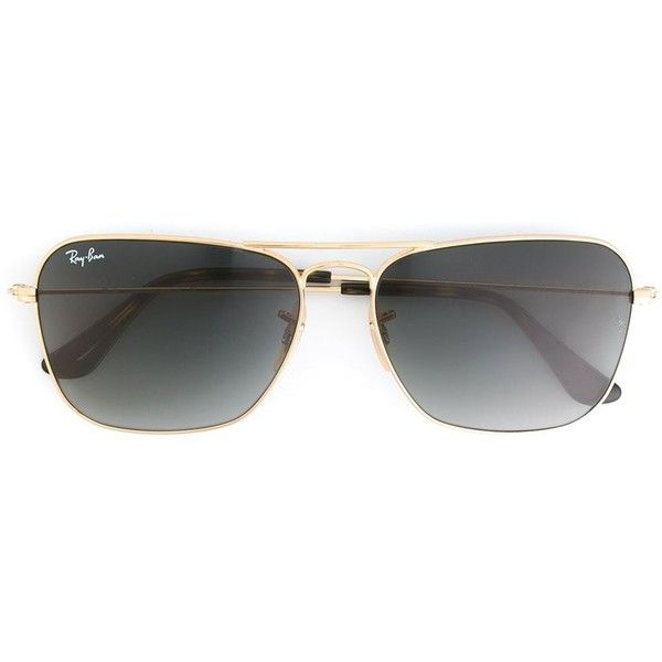 839648095 Ray-Ban rectangular frame sunglasses (€175) ❤ liked on Polyvore featuring  accessories, eyewear, sunglasses, metallic, metallic glasses, rectangle ...
