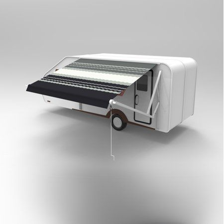 Aleko 13'x8' Retractable RV/Patio Awning, Black Striped ...