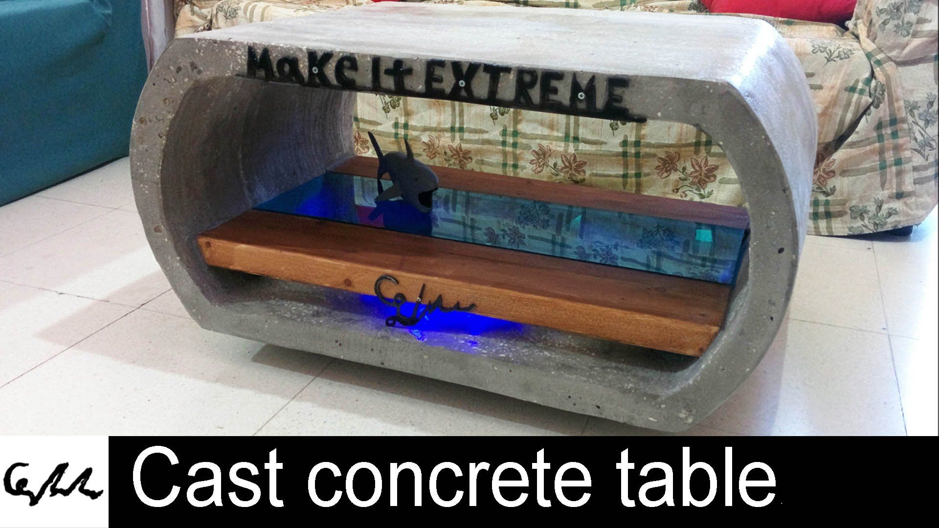 Extreme cast concrete coffee table