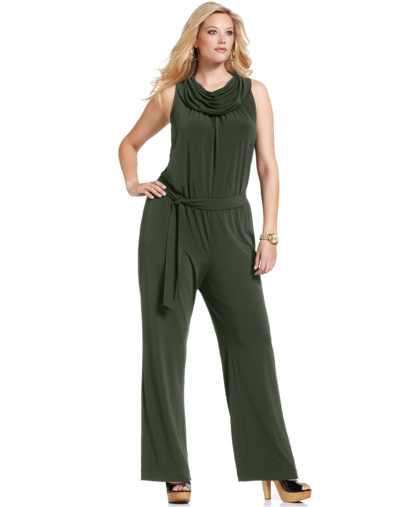 987a7d0cee7 Michael Kors Sleeveless Belted Cowl-Neck Plus Size Jumpsuit