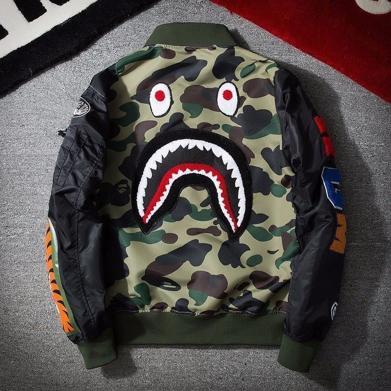 Men Bape Aape Camouflage Shark Head MA1 Army Flight Bomber Jacket Coat Sweats