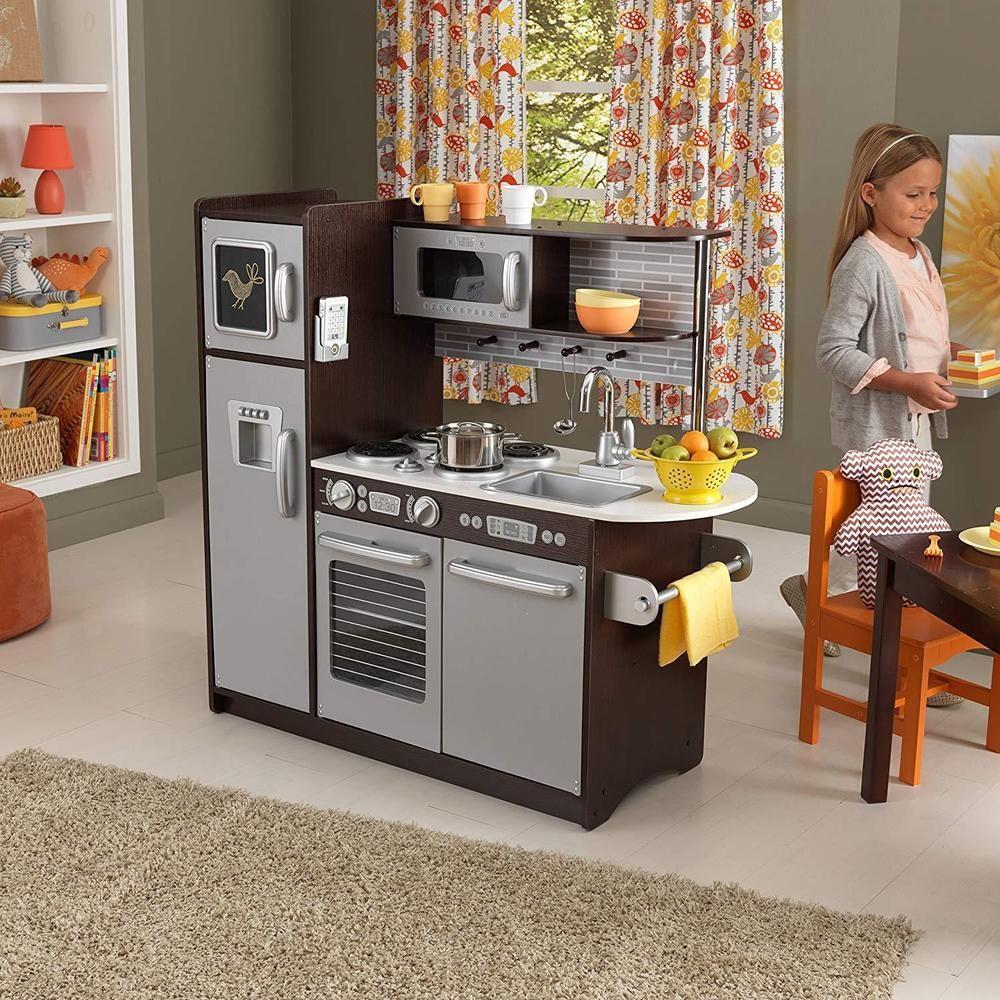 Modern Large Kitchen Set Kids Pretend Play Girls Role Kidkraft