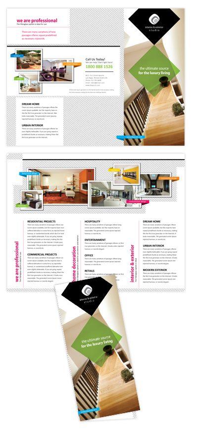 Interior Exterior Design Company Tri Fold Brochure Template Will