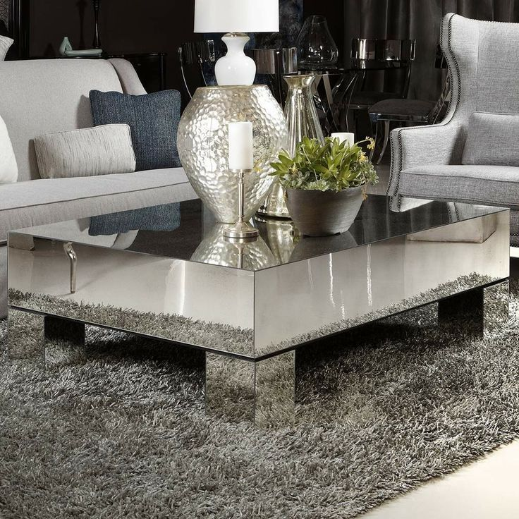 silver glass living room furniture%0A Mirror furniture