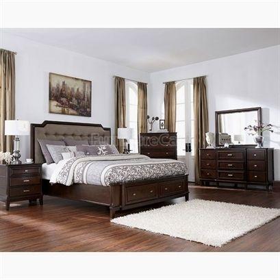 Detailed matching bedroom furniture Love the dark brown wood