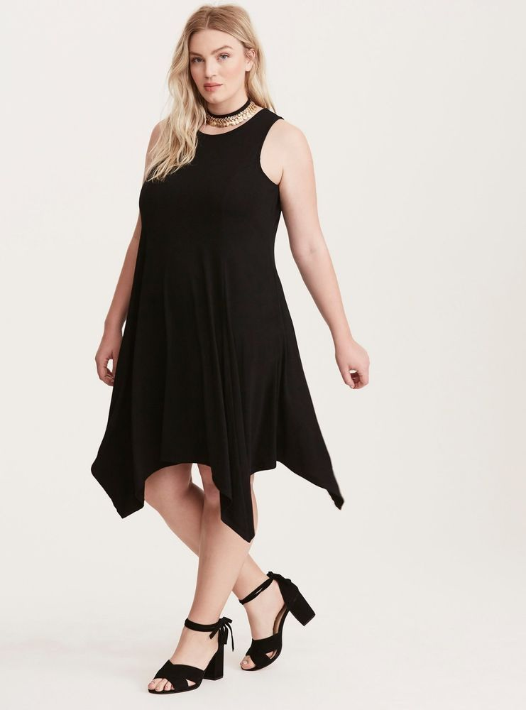 d97971b6fa4 TORRID Black High Neck Trapeze Dress Jersey Knit Plus Sz 00  See Notes  About Fit