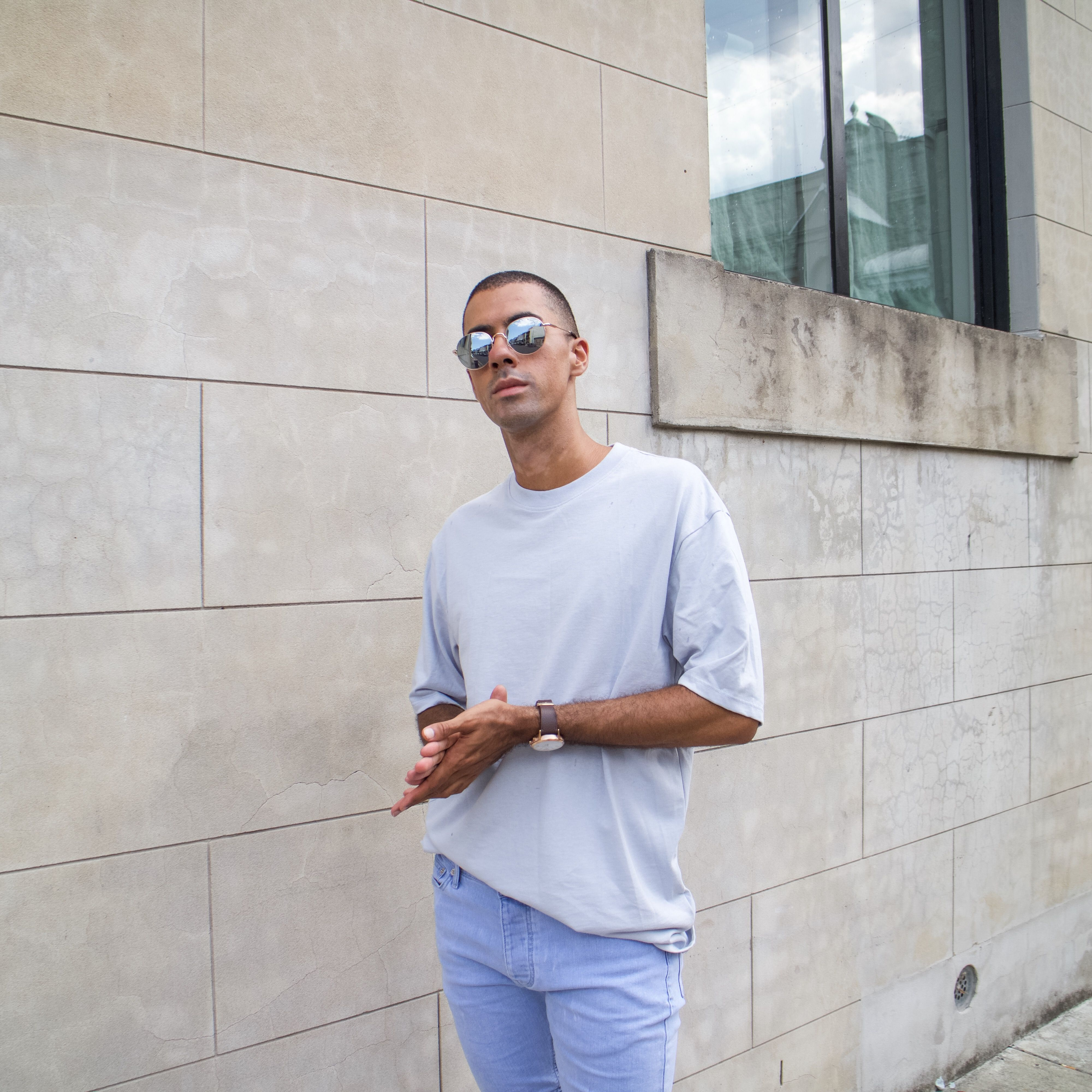 Mens Fashion Style & Outfit inspo by Blogger MR TURNER. Topshop Topman oversized Blue Tee with same brand blue jean shorts.