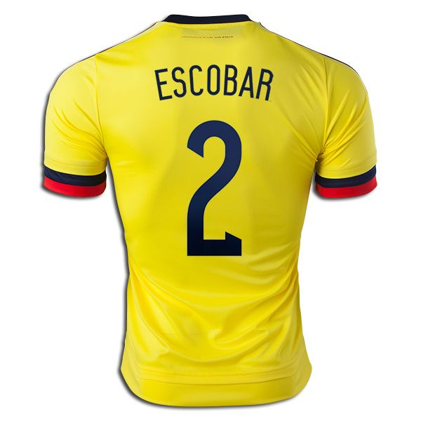 Andres Escobar 2 2015 Copa America Colombia Home Soccer Jersey ... 8e85dc409