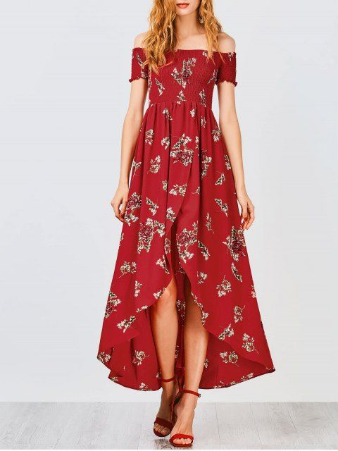 Maxi Dresses | Long, Floral, Black & White Maxi Dress Online. Rennot  AsutPaitapusero. Off Shoulder Floral Shirred Asymmetric Maxi Dress - RED S