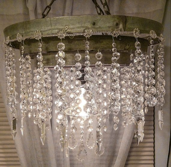 Handmade Repurposed Wine Barrel Straps 1920 S Italian Murano Crystal Glass Chandelier Where Industrial Meets Rustic Vintage Shabby Chic