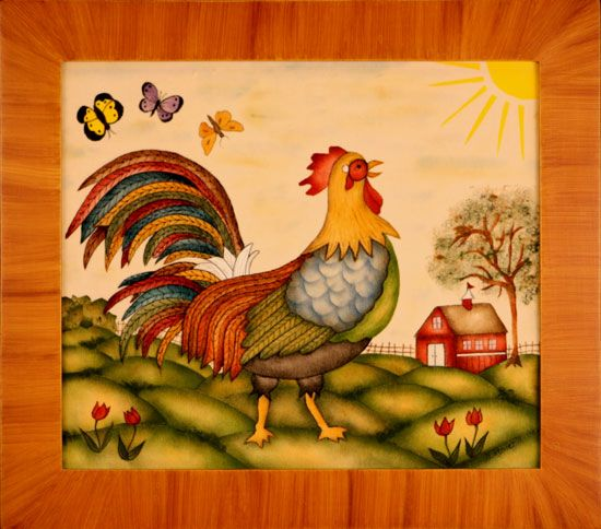 Rooster patterns to paint folk art rooster very for Folk art craft paint