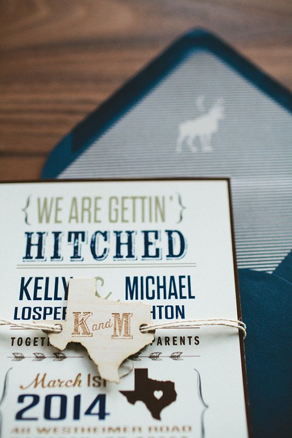 Rustic Wedding Invitation We Re Getting Hitched Brown And Navy Texas On Etsy 2 00