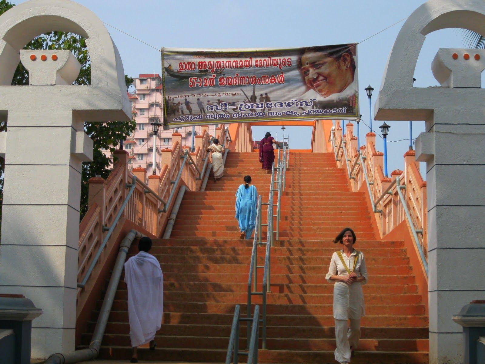 Ashram  Amrita Setu Bridge, which Amma built after the 2004 tsunami, to ensure quick evacuations incase of another tsunam.