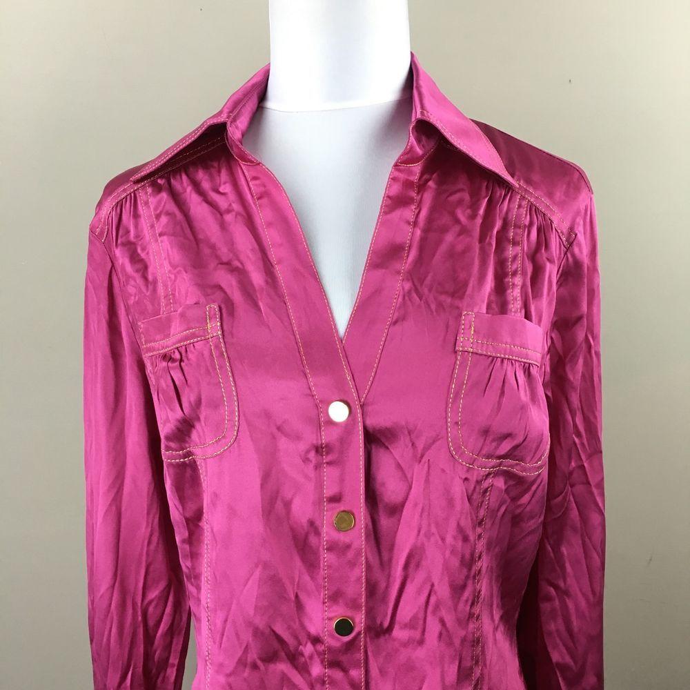 c1fdb490b81af Cache Button Down Blouse M Medium Ruched Top Fuchsia Pink Silk Blend Gold  Snaps