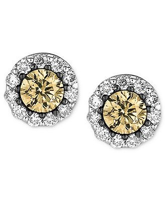Le Vian Diamond 14k White Gold And Chocolate Studs 1 2 Ct T W