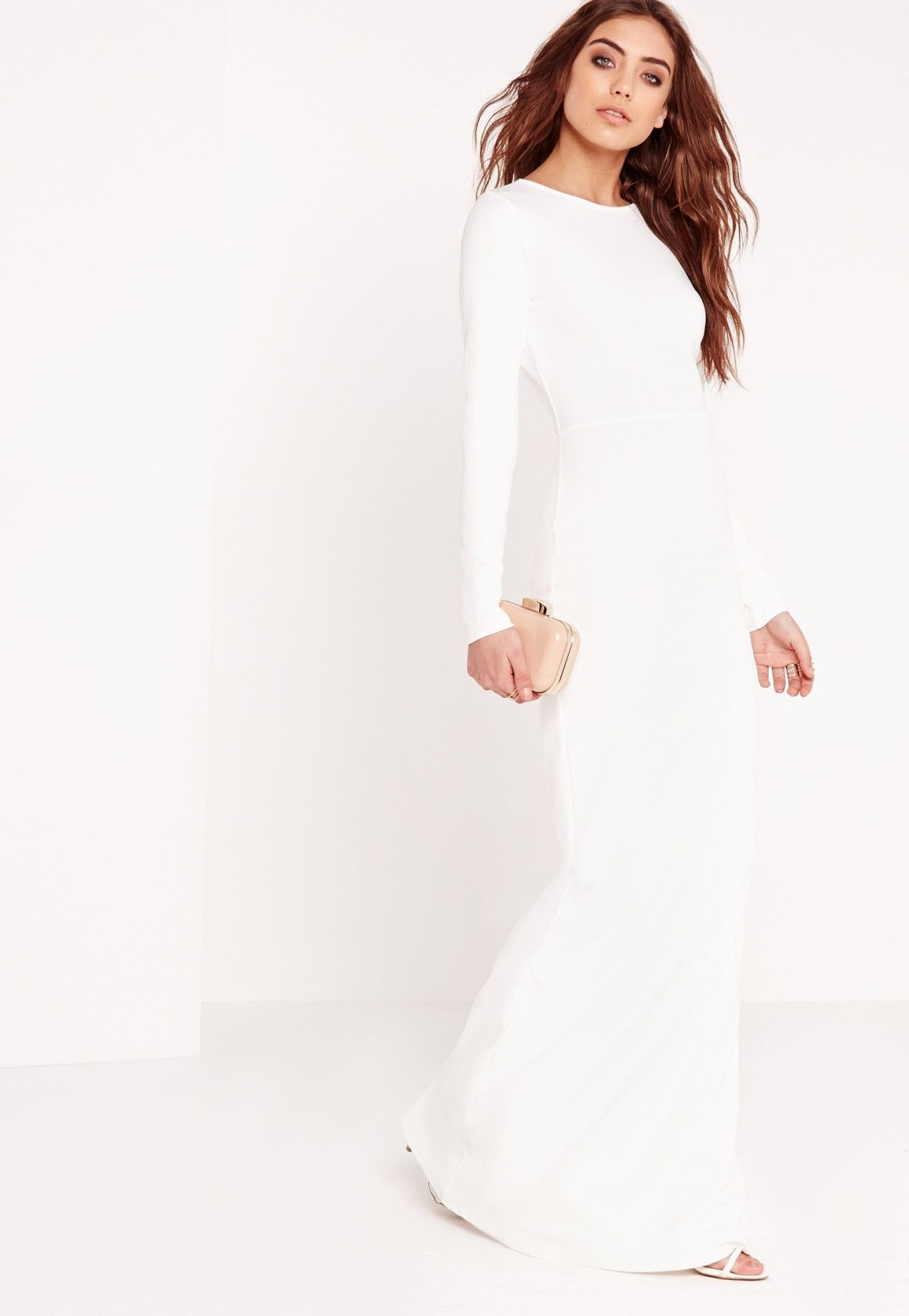 Long Sleeve White Maxi Dresses