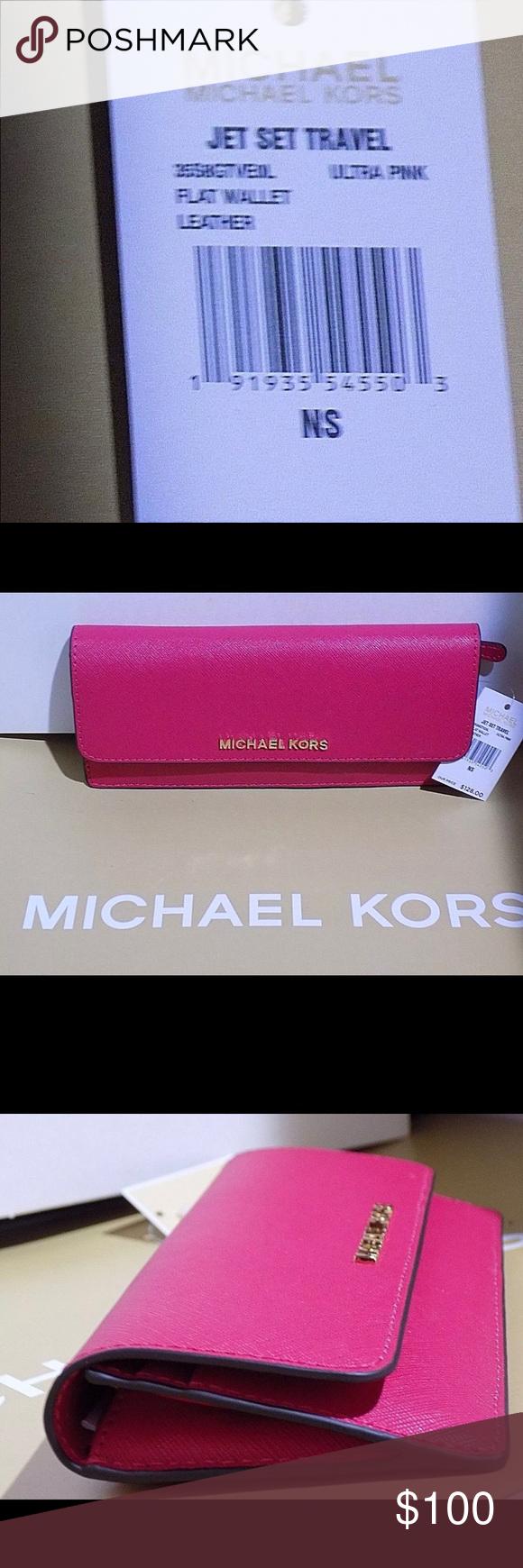da7d4d700638 Authentic MK Pink Jet Set Travel Wallet NWT 💖 Authentic MK Michael Kors  Jet Set Signature