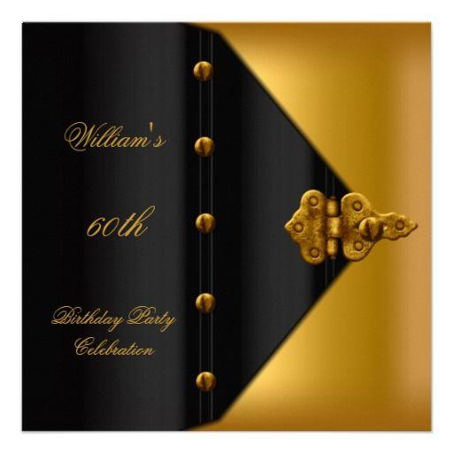 60th Birthday Party Elegant Mens Gold Black Mans Invites