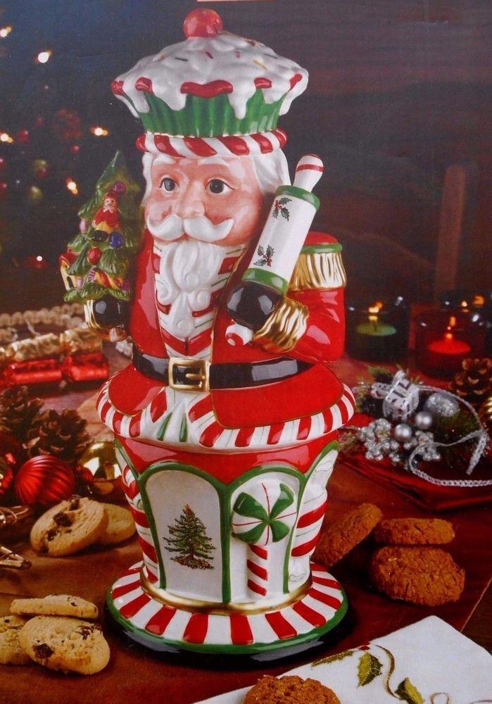 SPODE CHRISTMAS TREE Nutcracker Peppermint Cookie Jar NEW! #SPODE