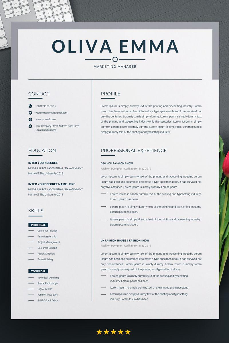 Marketing manager Resume Template 70621 Creative resume