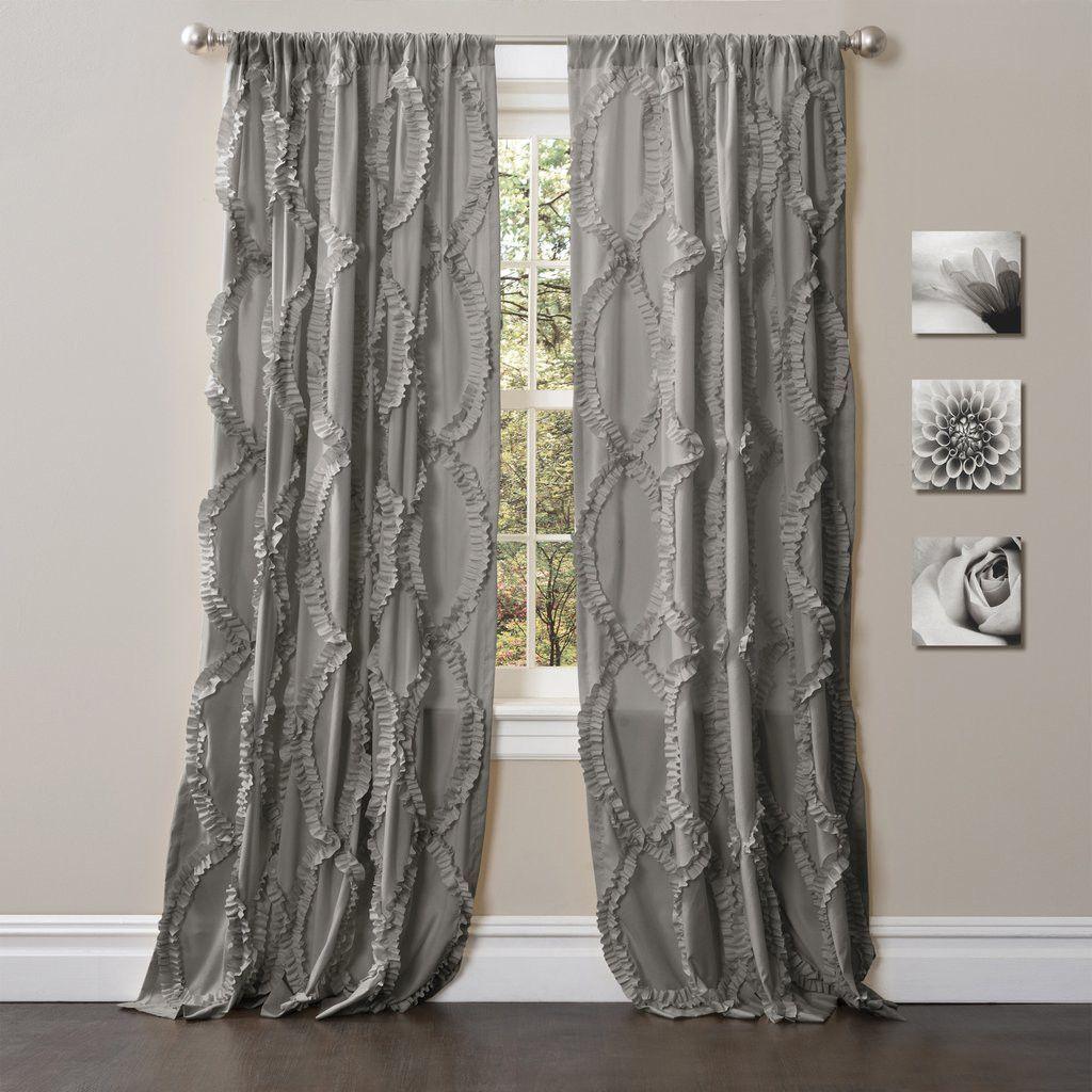 Avery Boho Romantic Ruffle Window Curtain Panel Set