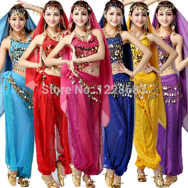 Click To Buy Newest Bollywood Indian Belly Dance Costumes For Women Cheap Prices Two 2 Piece Set Women Bollywood Costume Dance Outfits Belly Dance Dress