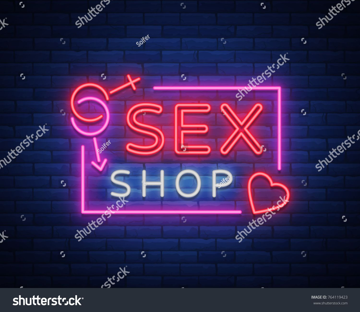Sex Shop Logo Night Sign In Neon Style Neon Sign A Symbol For Sex