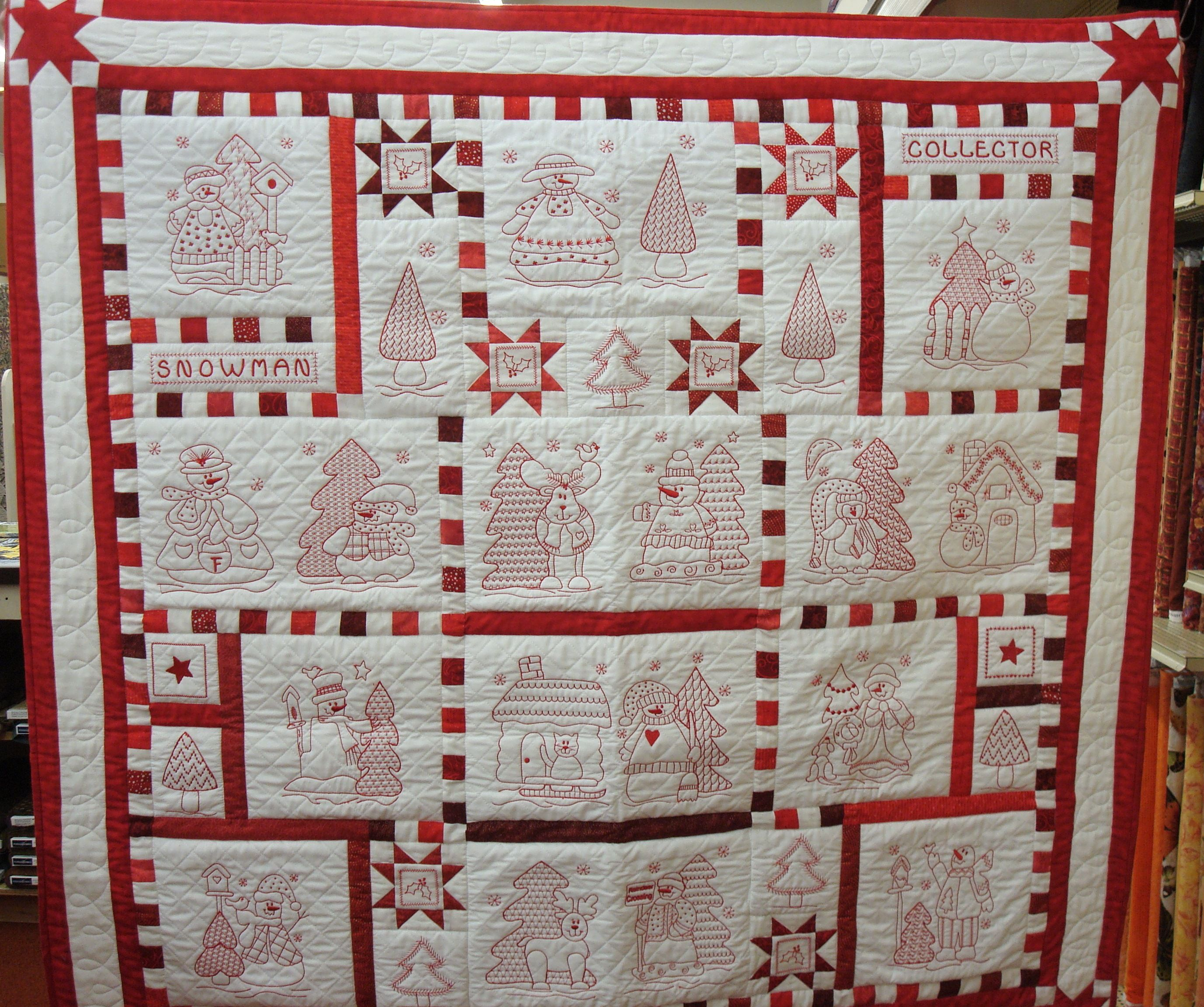 Redwork Quilt Patterns Christmas : redwork quilts Redwork Snowman Quilt Patterns Sashing ...