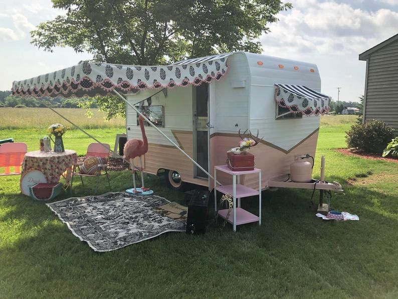 Awning For Vintage Camper 8 X7 Please Read Entire Ad In 2020 Vintage Camper Camper Makeover Camper Awnings