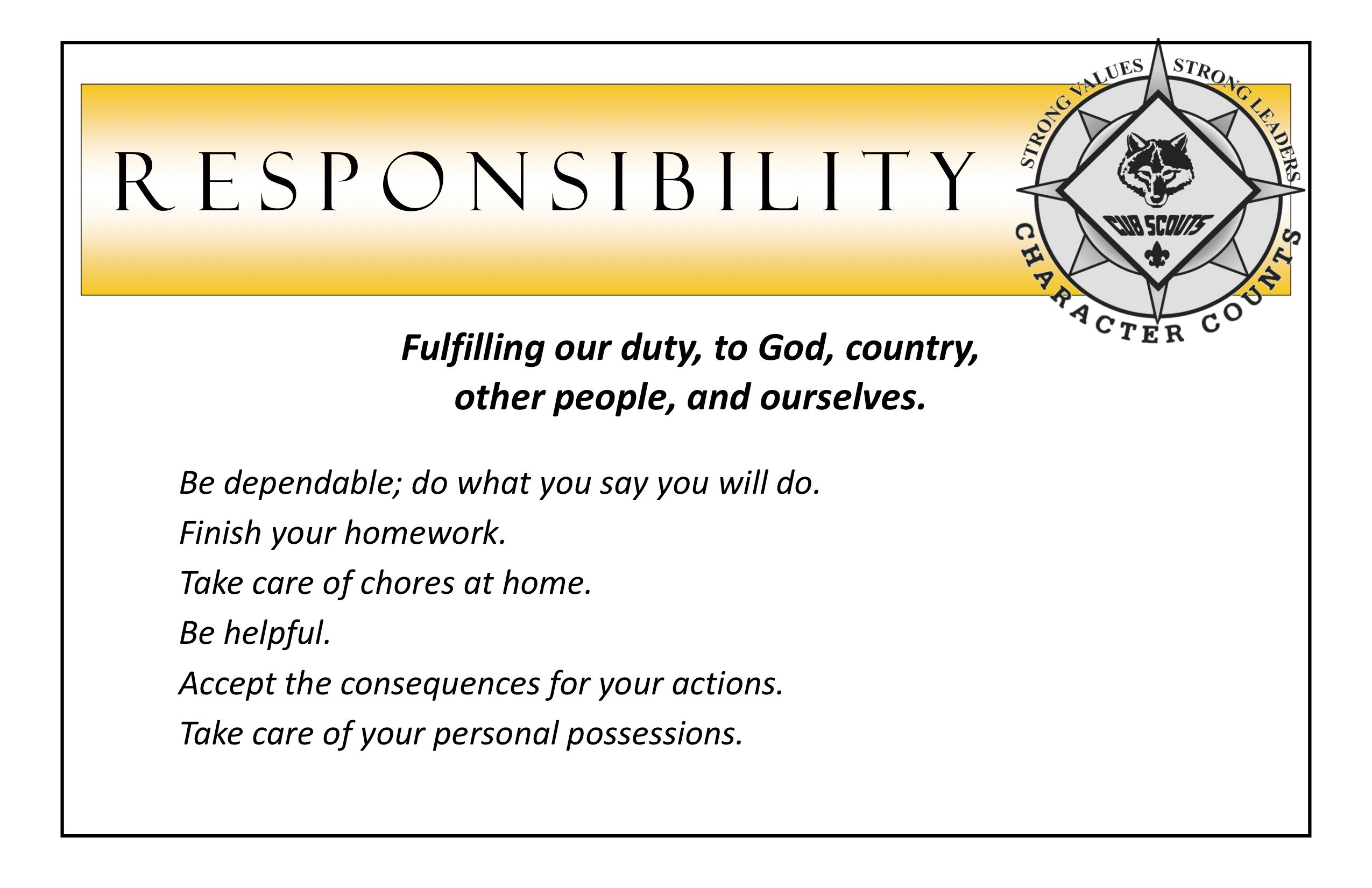 Responsibility Poster From Prairiepack165 Com Pdf Core Values