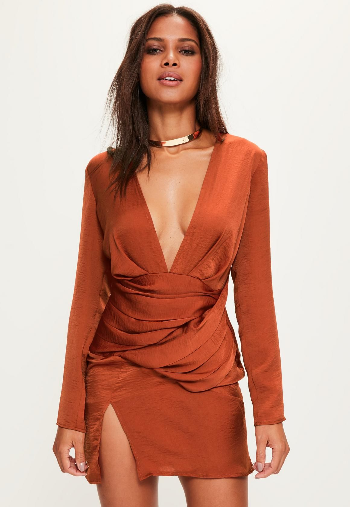 Missguided Orange Silky Long Sleeve Panelled Dress in 2019  7f6fdff40677