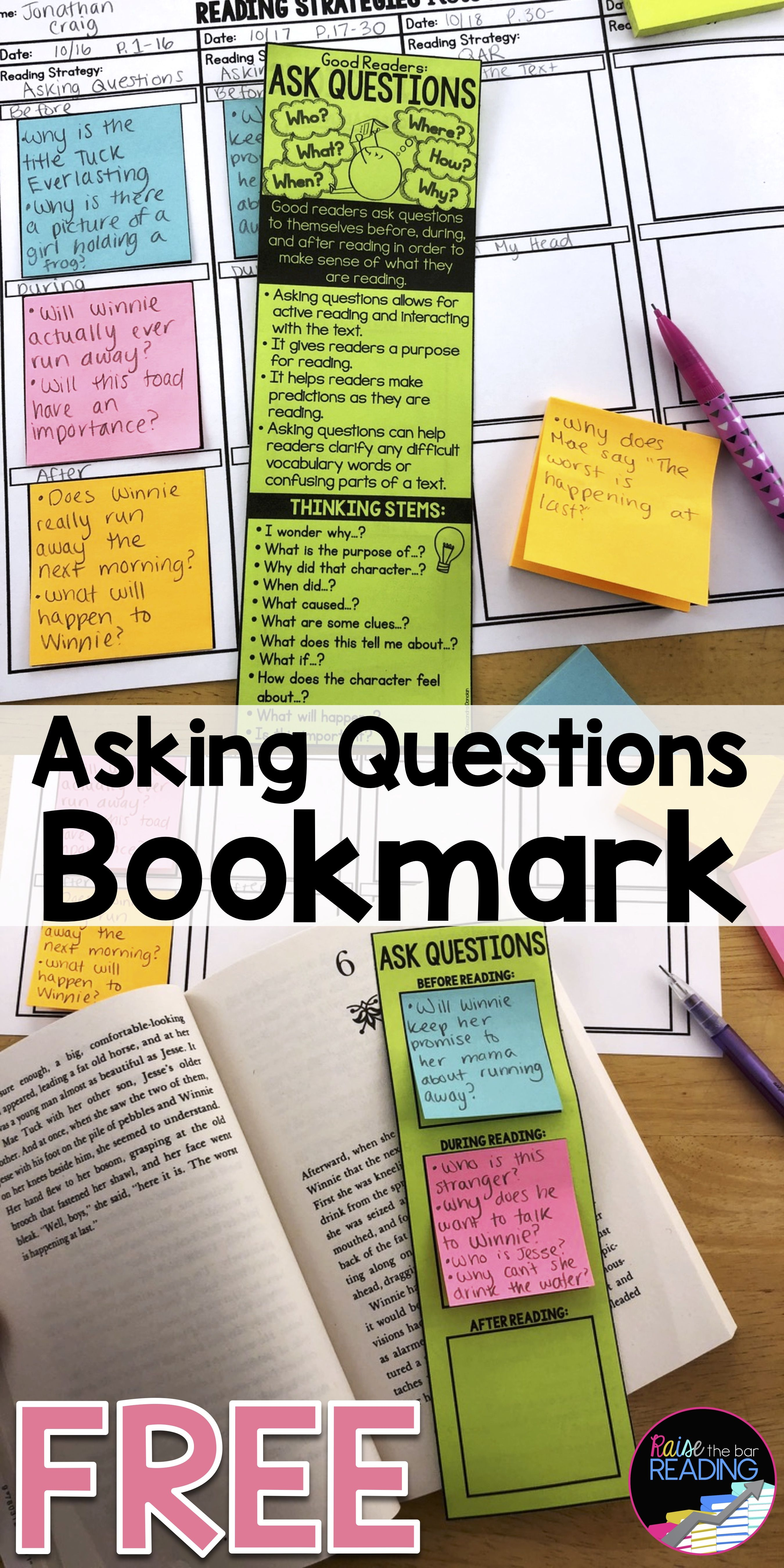 Reading Comprehension Strategies Asking Questions Free
