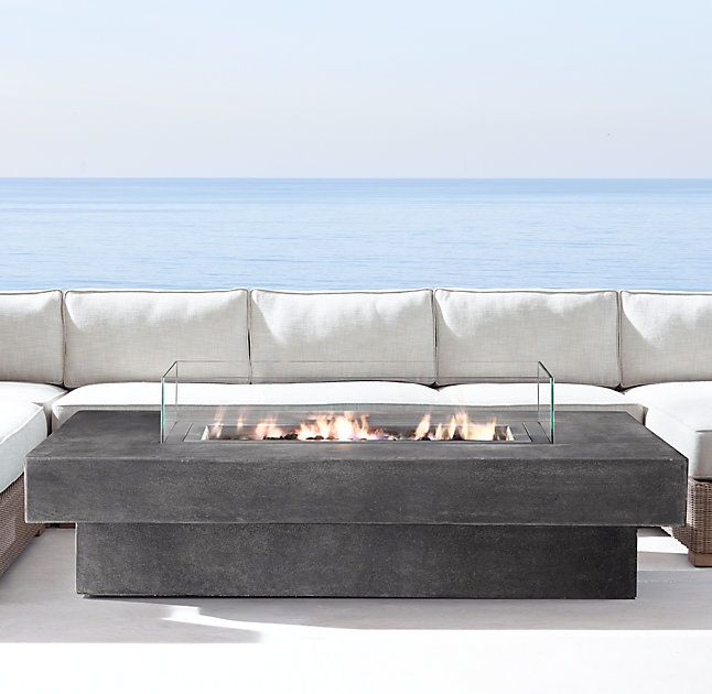 Captivating RHu0027s Laguna Concrete Natural Gas Rectangular Fire Table:Fire Up A Blaze  Instantly And Provide