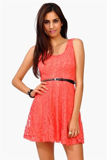 Coral lace dress- I love this color for the summer