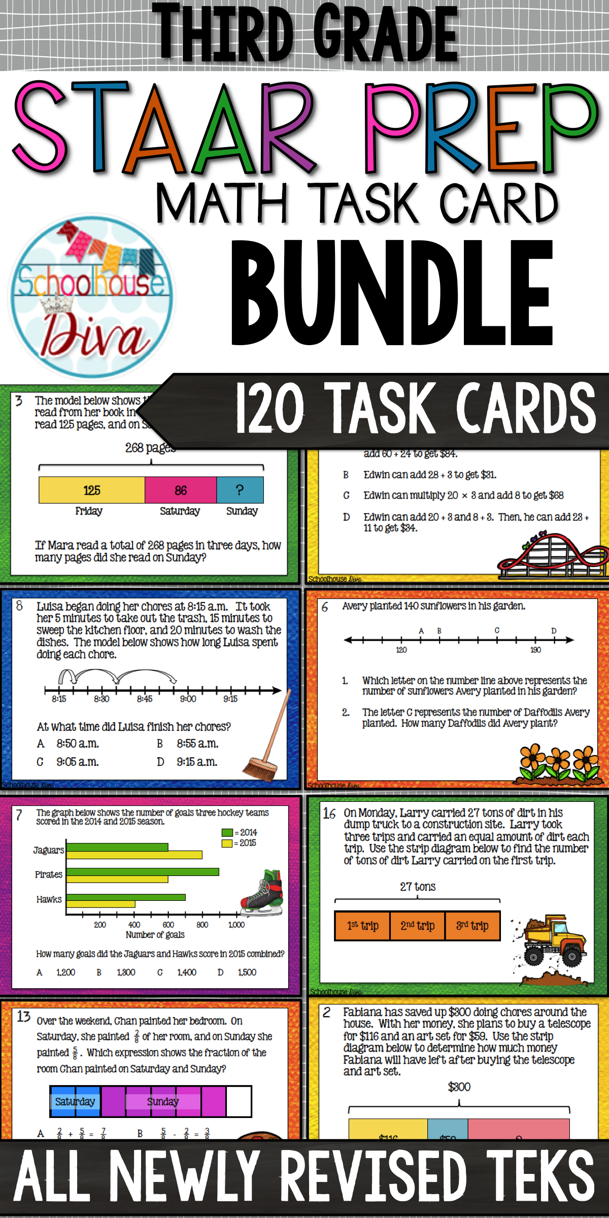 3rd Grade Math Teks Task Card Bundle