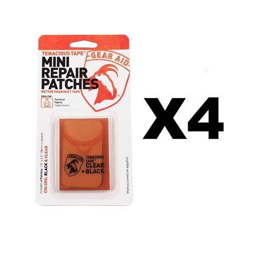McNett Gear Aid Tenacious Tape Mini Repair Patches Black & Clear (4-Pack)