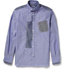 Junya Watanabe - Patchwork Cotton-Chambray Shirt|MR PORTER
