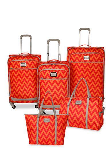 b379146ff Jessica Simpson Chevron Luggage Collection - Orange Red Chevron ...