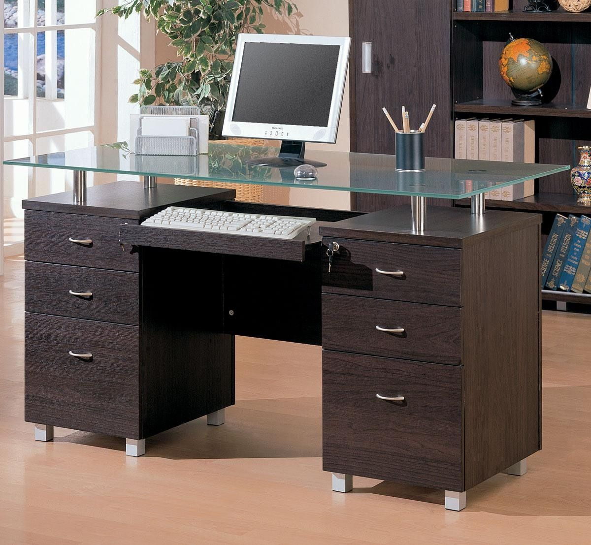 Decarie Glass Top Contemporary Double Pedestal Desk Home Office