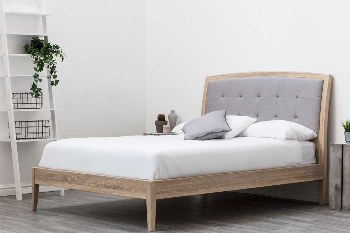 Frodsham Modern Grey Headboard Solid Wooden Bed Frame- Double / King ...